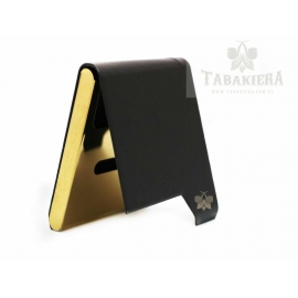 Papierośnica skóra exclusive czarno - złota