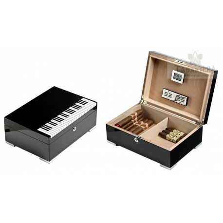 Humidor - Styl fortepianowy z zamkiem