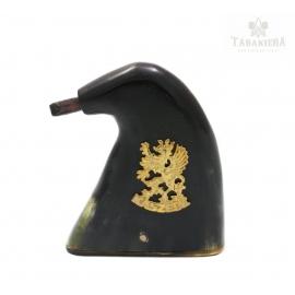 Tabakiera z rogu z gryfem Kaszebe - model 2